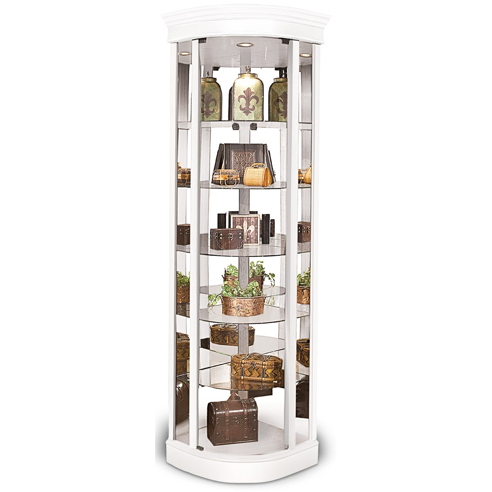 Lighthouse Curios Auburage IV Curved Corner Cabinet by Philip Reinisch at Darvin Furniture