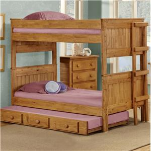 Pine Crafter Youth Bedroom Twin/Twin Casual Solid Pine Bunk Bed