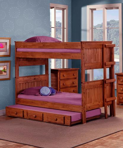 Pine Crafter Youth Bedroom Full/Full Bunk Bed with Ladder (Trundle not  - Item Number: 4013F