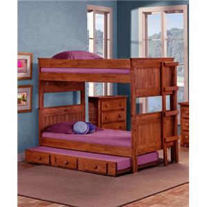 Pine Crafter Youth Bedroom Full/Full Bunk Bed with Ladder (Trundle not