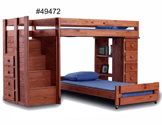 Pine Crafter Youth Bedroom Twin over Full Loft Bed with Staircase and S - Item Number: 49472