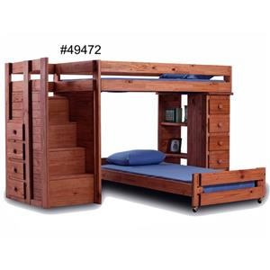 Pine Crafter Youth Bedroom Twin over Full Loft Bed with Staircase and S