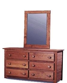 Pine Crafter Youth Bedroom Solid Pine Dresser and Mirror - Item Number: 4956+4051
