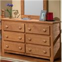 Pine Crafter Youth Bedroom 6 Drawer Dresser - Item Number: PIN-3956