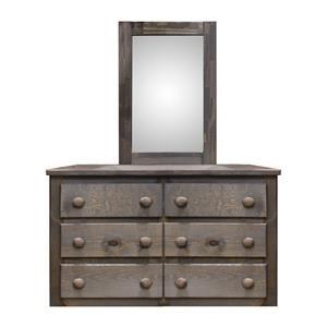 Pine Crafter Walnut Six Drawer Dresser & Mirror Set