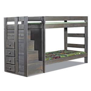 Pine Crafter Walnut Staircase Twin/Twin Bunk Bed