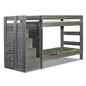 Pine Crafter Walnut Staircase Twin/Full Bunk Bed
