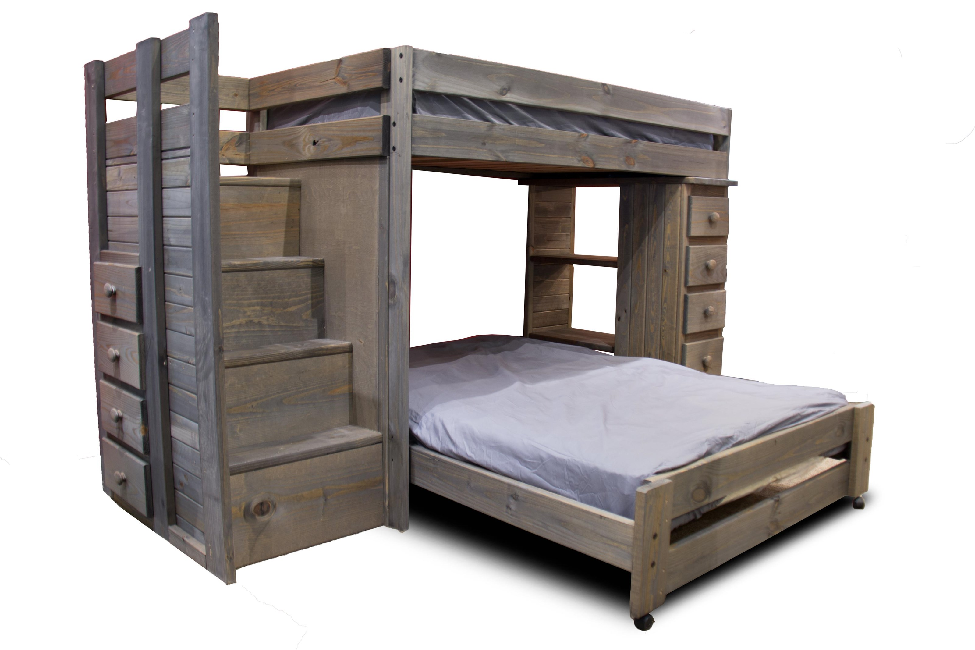 Merveilleux Pine Crafter Walnut Staircase Twin/Full Loft Bed   Item Number: GRP WAL49472