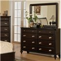 Pinewood International Marquis  Dresser with 8 Drawers - Shown with Landscape Mirror