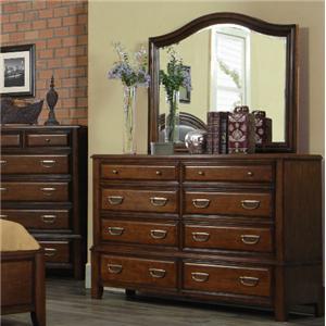 Pinewood International Paddock Eight-Drawer Dresser & Landscape Mirror Combination