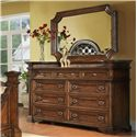 Pinewood International Wellington  Delicate Nine Drawer Dresser for Elegant Master Bedrooms - Shown with Coordinating Collection Mirror
