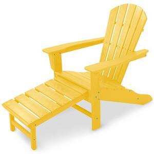 Polywood Palm Coast Adirondack Lounge Chair w/ Hideaway Ottoman