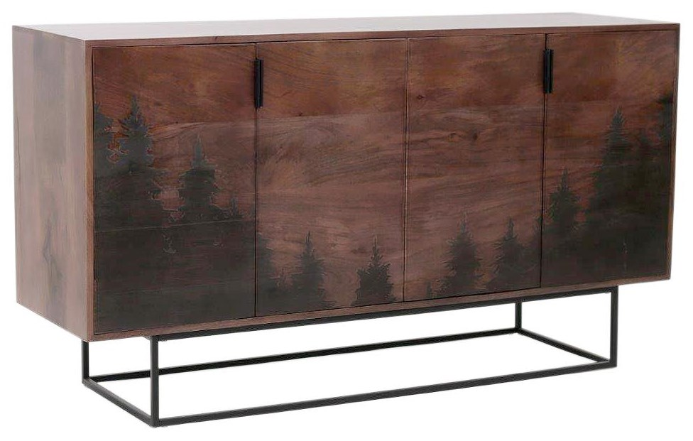 CASCADE Solid Wood Cabinet with Laser Etched Trees at Walker's Furniture