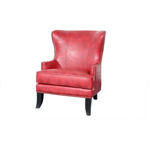 Grant Porter Traditional Upholstered Wing Chair with Nailhead Trim by Porter International Designs