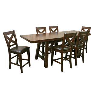 Montreal Seven-Piece Pub Table and Stool Set by Porter International Designs