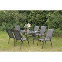 Poundex 205 Outdoor Dining Set - Item Number: P50214+6xP50114
