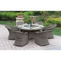 Poundex 229 Outdoor Dining Set - Item Number: P50266+6xP50135