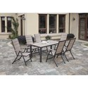 Poundex 254 Outdoor Dining Set - Item Number: P50242+6xP50137