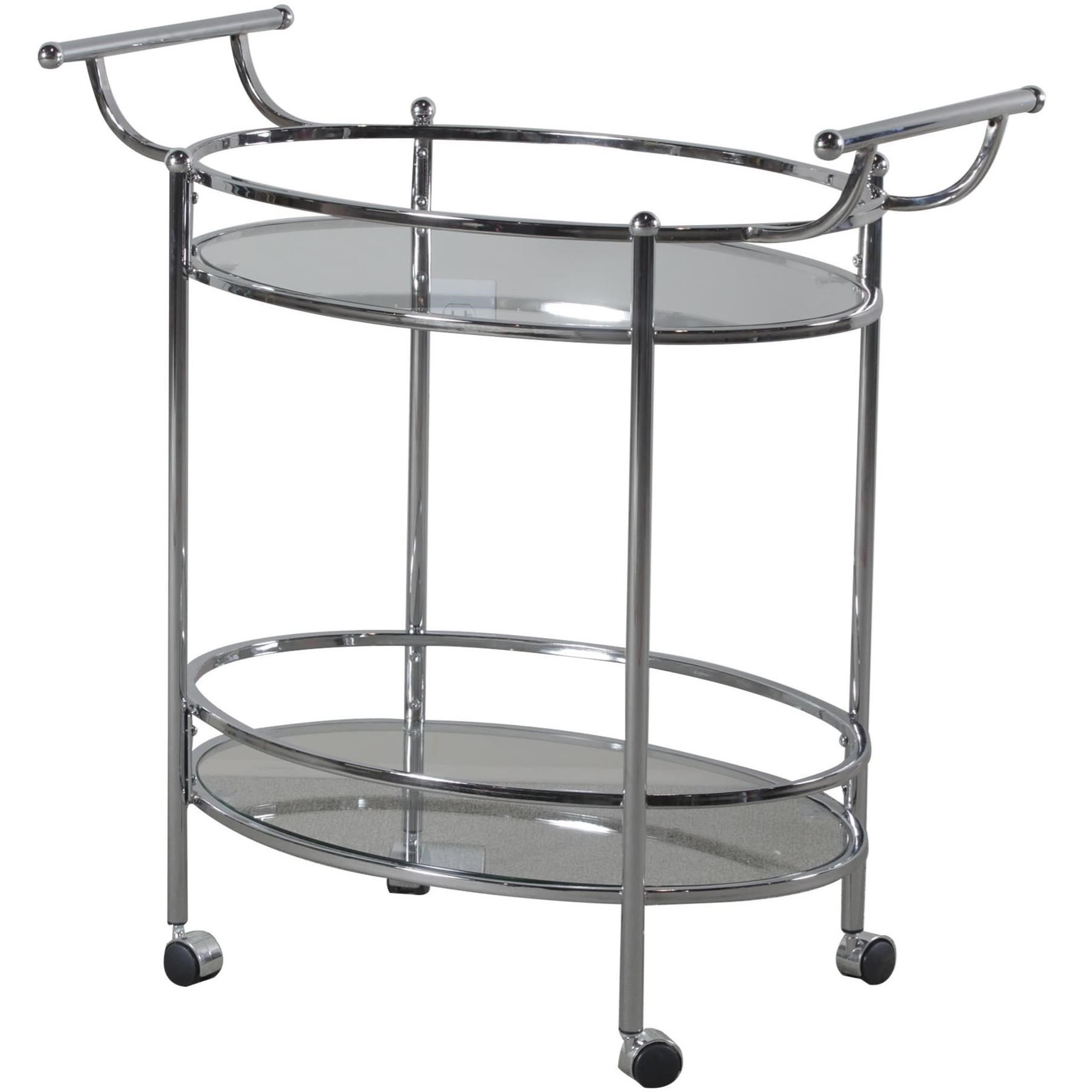 Accent Furniture Chrome Service Cart by Powell at Nassau Furniture and Mattress