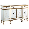 Powell Accent Furniture Gold and Mirrored Console 3-Drawers 4-Doors - Item Number: 427-304