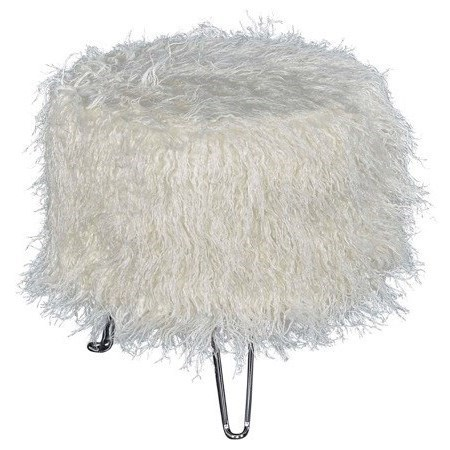 Accent Furniture Faux Fur Ottoman by Powell at Nassau Furniture and Mattress