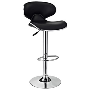 Powell Bar Stools & Tables Chrome and Black PU Barstool