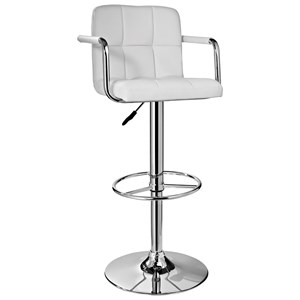 Powell Bar Stools & Tables  White and Chrome Quilted Barstoo