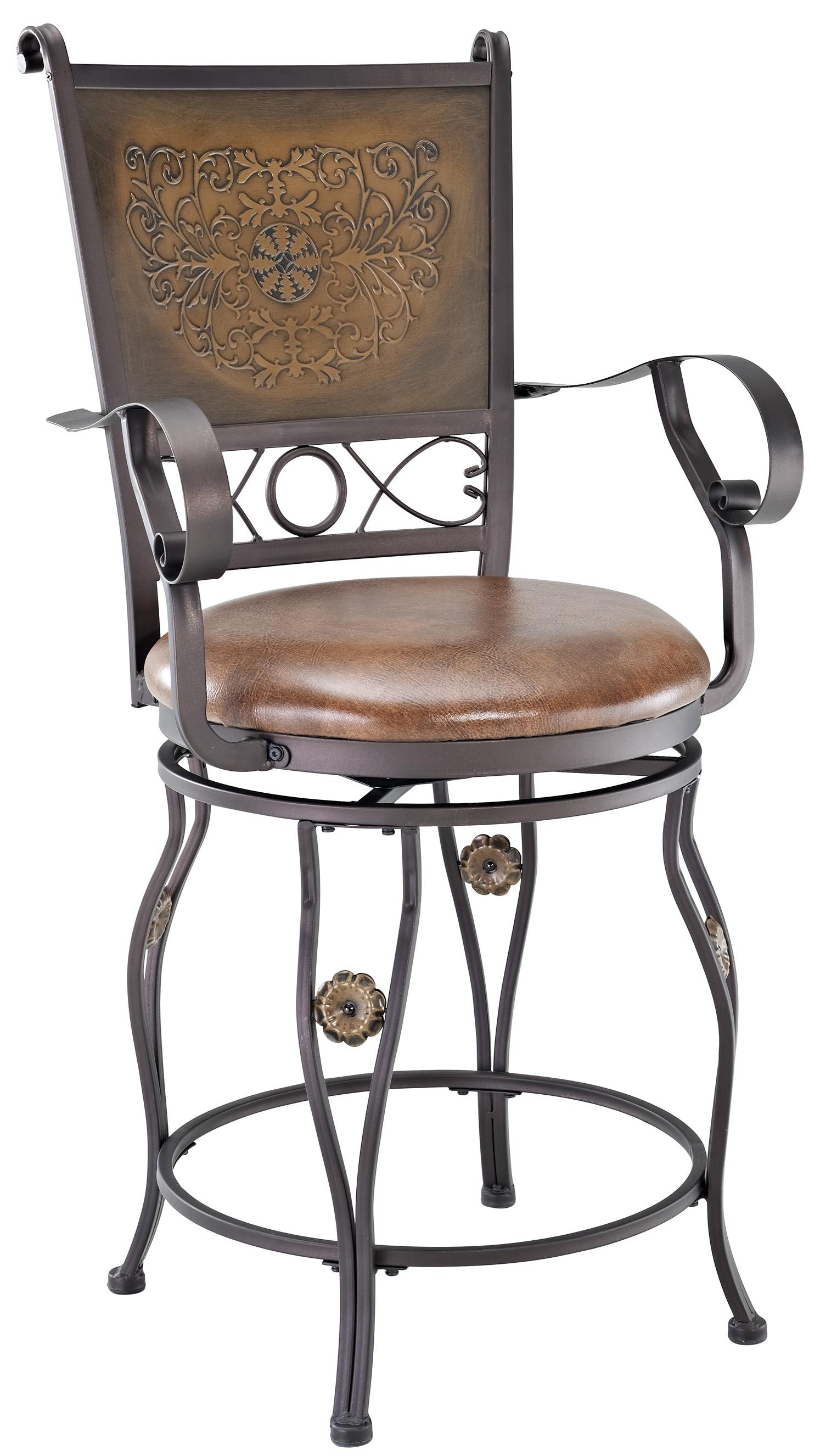 Powell Big and Tall Copper Stamped Back Counter Stool - Item Number: 222-430
