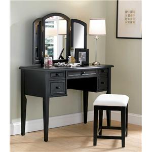 Powell Black Vanity, Mirror, & Stool