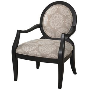 Batik Pearl Black Framed Accent Chair with Exposed Wood Arms