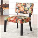 Powell Classic Seating Bright Floral Print Exposed Wood Accent Chair - 383-936 - Shown in Home Setting