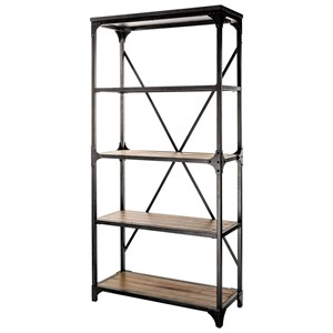Industrial Bookcase with Metal Frame and 4 Open Shelves