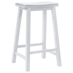 Powell Color Story White Saddle Bar Stool