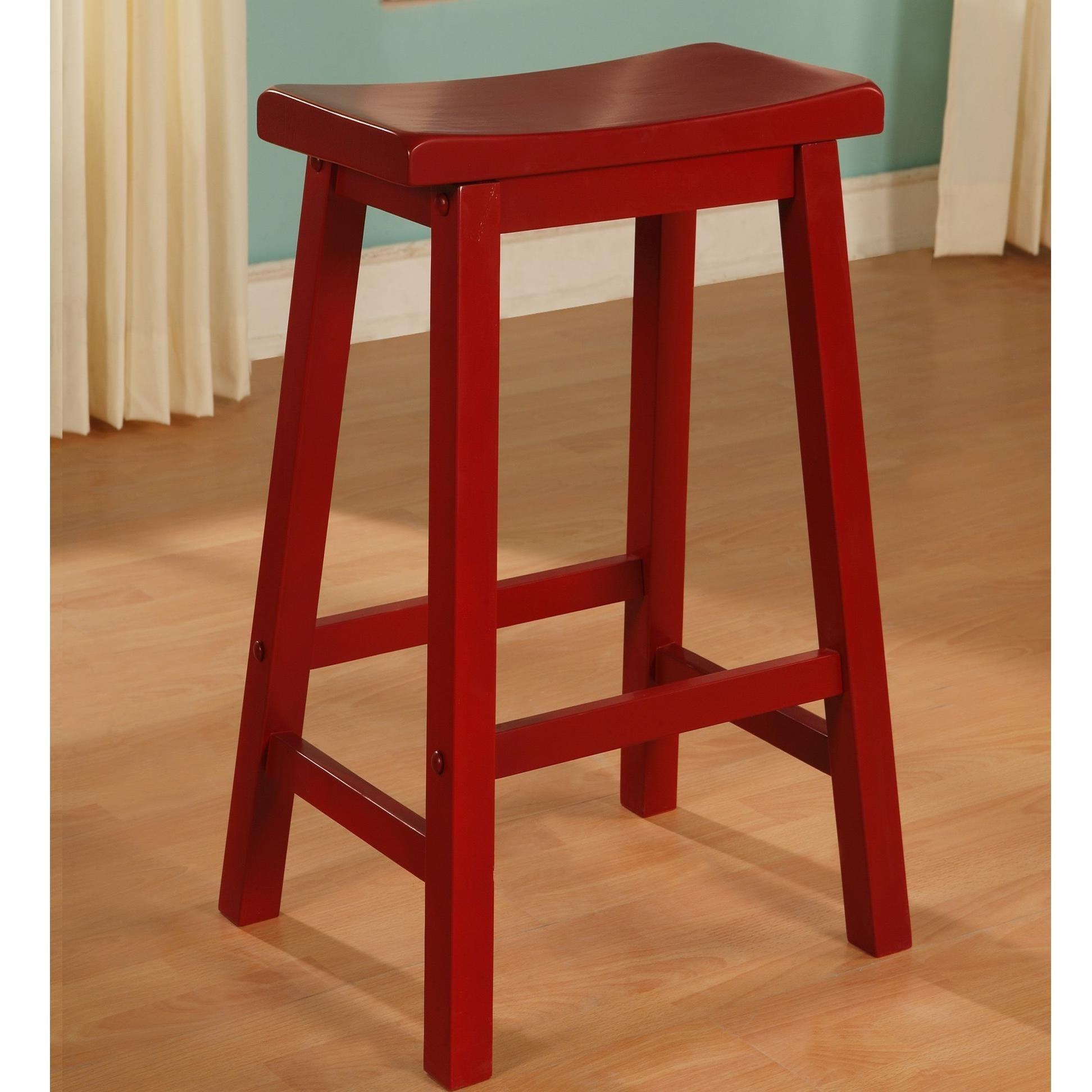 Red Saddle Bar Stool