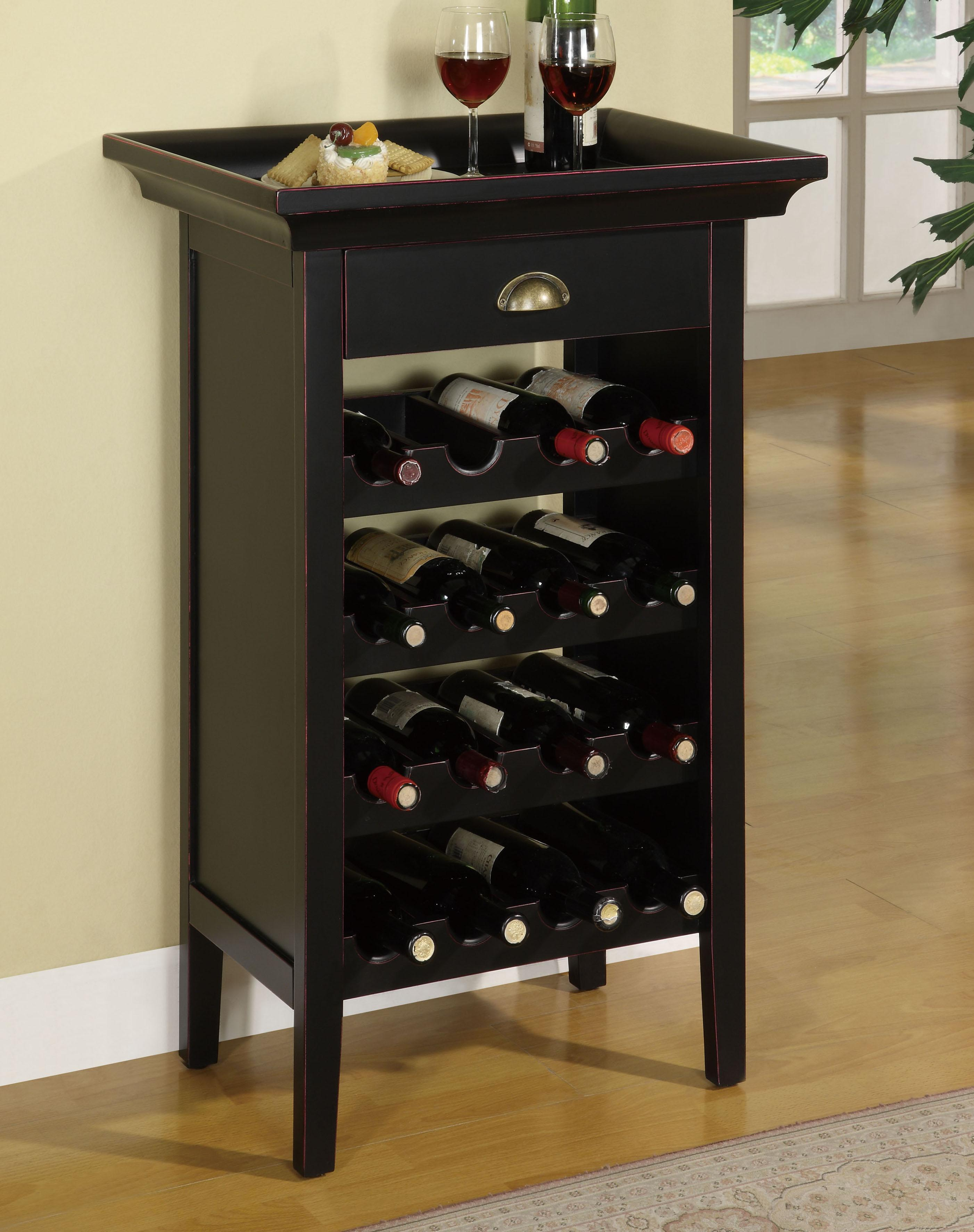 Powell Contemporary Black Wine Cabinet - Item Number: 502-426