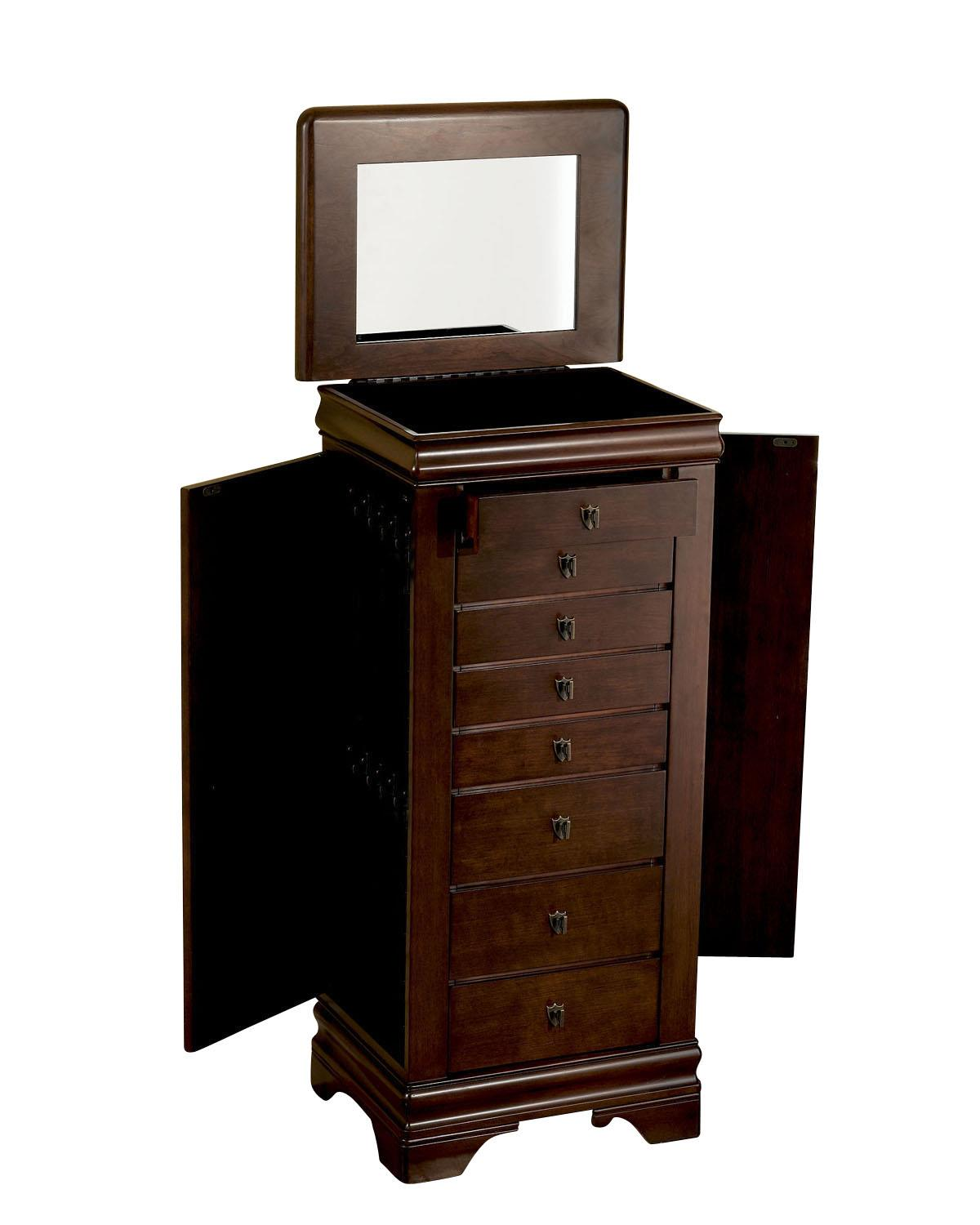 "Powell Jewelry Armoire Louis Phillipe ""Marquis Cherry"" Jewelry Armo - Item Number: 508-315"