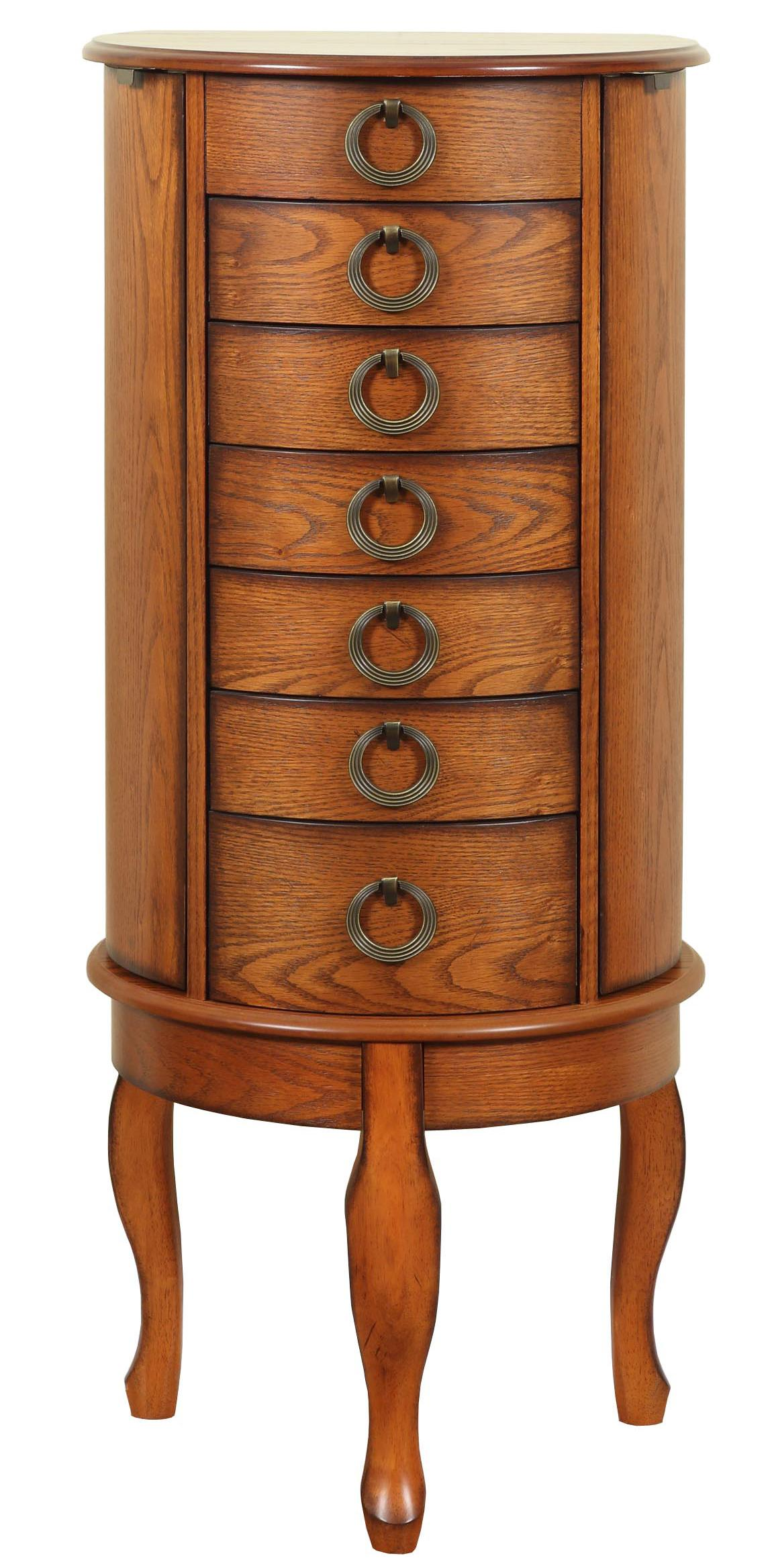 Powell Jewelry Armoire Burnished Oak Jewelry Armoire - Item Number: 604-318