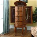 Powell Jewelry Armoire Burnished Oak Jewelry Armoire with 6 Drawers - Shown Open in Room Setting