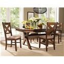 Powell Kraven Dark Hazelnut Dining Side Chair with Beige Upholstered Seat - 713-434 - Shown with Dining Table