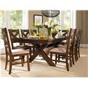 Powell Kraven Dark Hazelnut Dining Side Chair with Beige Upholstered Seat - Shown with Dining Table