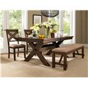 Powell Kraven Dark Hazelnut Dining Side Chair with Beige Upholstered Seat - 713-434 - Shown with Dining Table & Bench
