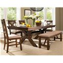 Powell Kraven Dark Hazelnut Dining Side Chair with Beige Upholstered Seat - Shown with Dining Table & Bench