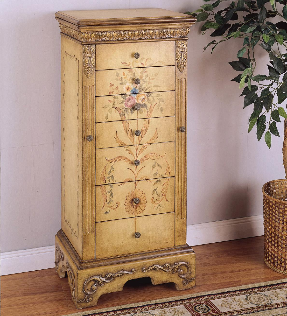 Powell Masterpiece Hand Painted Jewelry Armoire Olinde 39 S Furniture Chest Of Drawers