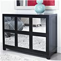 Powell Accents Mirrored 6 Drawer Black Wood Console - 233-660 - Shown in Room Setting