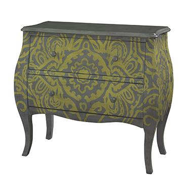 Powell Accents Yellow and Grey Bombe Chest - Item Number: 256-331