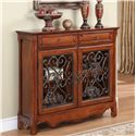 Powell Accents 2 Door Light Cherry Console Cabinet with 2 Drawers - Shown in Room Setting