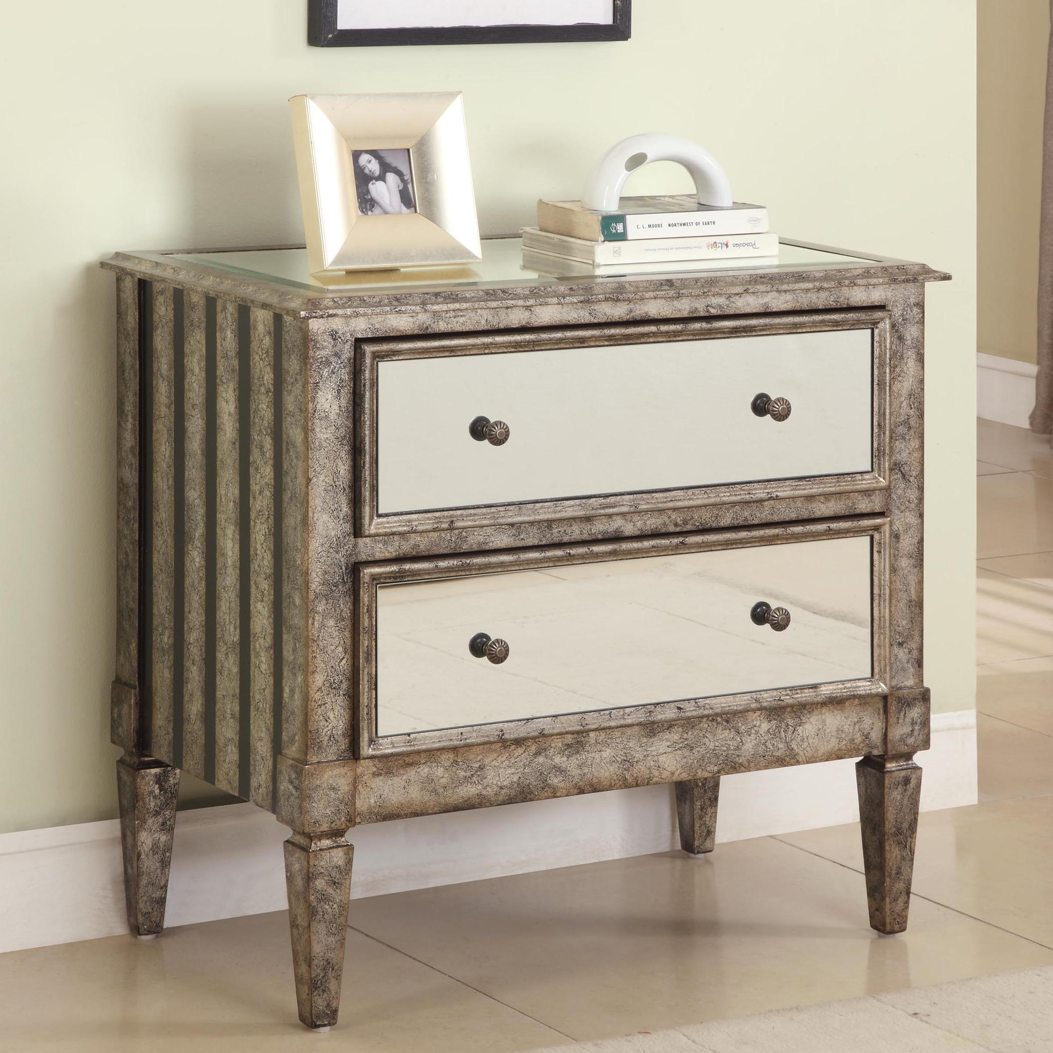 Powell Accents 2-Drawer Mirrored Chest - Item Number: 709-331