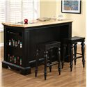 Powell Pennfield Kitchen Island with Three Drawers - 318-416 - Shown with Kitchen Island Stools