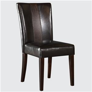 Brown Faux Leather Parsons Chair