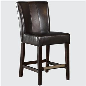 Brown Faux Leather Parsons Counter Stool